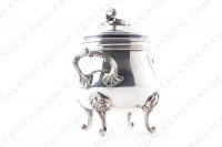 Sugar bowl in platted silver by Christofle pattern Marly decorated with acanthus leaves photo-2