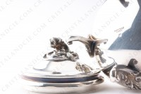 Sugar bowl in platted silver by Christofle pattern Marly decorated with acanthus leaves photo-5