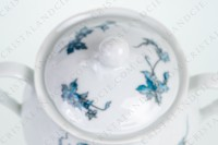 Sugar bowl in Limoges china by Bernardaud pattern Saint-Saens decorated with foliages in shades of blue photo-3