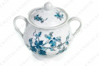 Sugar bowl in Limoges china by Bernardaud pattern Saint-Saens decorated with foliages in shades of blue photo-2