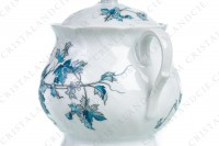 Sugar bowl in Limoges china by Bernardaud pattern Saint-Saens decorated with foliages in shades of blue photo-4