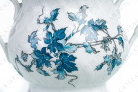 Sugar bowl in Limoges china by Bernardaud pattern Saint-Saens decorated with foliages in shades of blue photo-5
