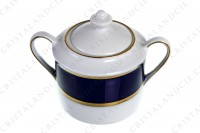 Sugar bowl in Limoges china by Bernardaud pattern Sparte cobalt blue decorated with a cobalt blue stripe and gold borders photo-2