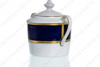 Sugar bowl in Limoges china by Bernardaud pattern Sparte cobalt blue decorated with a cobalt blue stripe and gold borders photo-3