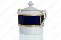Sugar bowl in Limoges china by Bernardaud pattern Sparte cobalt blue decorated with a cobalt blue stripe and gold borders photo-4