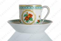 Coffee cup in Limoges china by Haviland collection Empress Josephine pattern Austrian Copper, decorated with polychromes Austrians roses and with green and gold friezes and borders photo-2