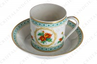 Coffee cup in Limoges china by Haviland collection Empress Josephine pattern Austrian Copper, decorated with polychromes Austrians roses and with green and gold friezes and borders photo-3