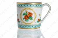 Coffee cup in Limoges china by Haviland collection Empress Josephine pattern Austrian Copper, decorated with polychromes Austrians roses and with green and gold friezes and borders photo-4