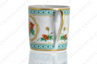 Coffee cup in Limoges china by Haviland collection Empress Josephine pattern Austrian Copper, decorated with polychromes Austrians roses and with green and gold friezes and borders photo-5