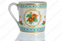 Coffee cup in Limoges china by Haviland collection Empress Josephine pattern Austrian Copper, decorated with polychromes Austrians roses and with green and gold friezes and borders photo-6