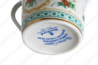 Coffee cup in Limoges china by Haviland collection Empress Josephine pattern Austrian Copper, decorated with polychromes Austrians roses and with green and gold friezes and borders photo-9