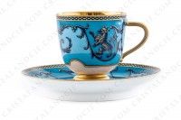 Coffee cup in china with a hand painted pattern of crowned lions and vegetables interlaces in blue monochrome photo-2