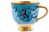 Coffee cup in china with a hand painted pattern of crowned lions and vegetables interlaces in blue monochrome photo-3