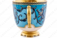 Coffee cup in china with a hand painted pattern of crowned lions and vegetables interlaces in blue monochrome photo-4