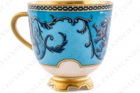 Coffee cup in china with a hand painted pattern of crowned lions and vegetables interlaces in blue monochrome photo-5