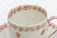Coffee cup in china of Limoges by Theodore Haviland decorated with polychromes roses photo-3
