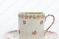 Coffee cup in china of Limoges by Theodore Haviland decorated with polychromes roses photo-4