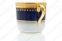 Coffee cup in china of Limoges by Theodore Haviland decorated with a gold inlays arabesques frieze on a cobalt blue background photo-5
