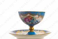 Coffee cup on foot in Limoges china, hand painted with polychromes flowers on a blue and gold background photo-3