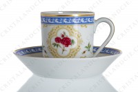 Coffee cup in Limoges china by Haviland collection Empress Josephine pattern L Evêque, decorated with polychromes Austrians roses and with blue and gold friezes and borders photo-2