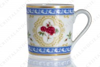 Coffee cup in Limoges china by Haviland collection Empress Josephine pattern L Evêque, decorated with polychromes Austrians roses and with blue and gold friezes and borders photo-4
