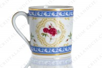 Coffee cup in Limoges china by Haviland collection Empress Josephine pattern L Evêque, decorated with polychromes Austrians roses and with blue and gold friezes and borders photo-6