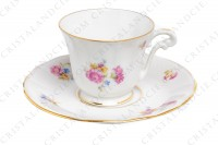 Coffee cup in china of Limoges by Bernardaud decorated with polychromes flowers and gold borders photo-3