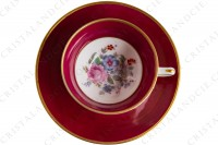 Coffee cup in china of Limoges by Haviland et Parlon decorated with a pink stripe and with a polychrome bouquet of flowers signed Paul photo-4