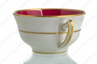 Coffee cup in china of Limoges by Haviland et Parlon decorated with a pink stripe and with a polychrome bouquet of flowers signed Paul photo-5