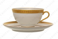 Coffee cup in china of Limoges by Chastanier decorated with a frieze of laurels in gold inlays photo-3