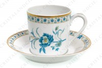 Coffee cup in Limoges china by Haviland, pattern Nankin decorated with blue and gold flowers photo-9