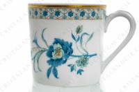 Coffee cup in Limoges china by Haviland, pattern Nankin decorated with blue and gold flowers photo-2