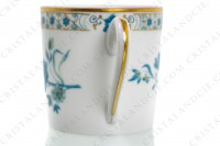 Coffee cup in Limoges china by Haviland, pattern Nankin decorated with blue and gold flowers photo-3