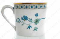 Coffee cup in Limoges china by Haviland, pattern Nankin decorated with blue and gold flowers photo-4