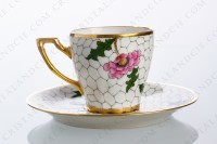 Coffee cup in Limoges china decorated with hand painted bird of paradise on flowery branches by the workshop P photo-2
