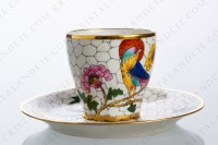 Coffee cup in Limoges china decorated with hand painted bird of paradise on flowery branches by the workshop P photo-3