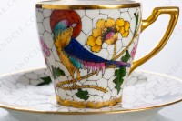 Coffee cup in Limoges china decorated with hand painted bird of paradise on flowery branches by the workshop P photo-4
