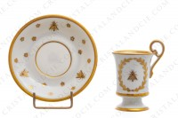 Chocolate cup in Limoges china with a gold hand painted pattern with attributes of Napoleon the 1st photo-3
