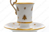 Chocolate cup in Limoges china with a gold hand painted pattern with attributes of Napoleon the 1st photo-6