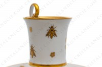 Chocolate cup in Limoges china with a gold hand painted pattern with attributes of Napoleon the 1st photo-7