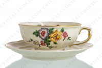 Tea cup in china of Limoges by Bernardaud pattern Bengali decorated with polychromes flowers and birds of paradise photo-2