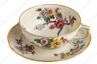 Tea cup in china of Limoges by Bernardaud pattern Bengali decorated with polychromes flowers and birds of paradise photo-3