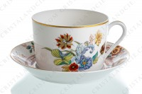 Tea cup in Limoges china by Haviland pattern Cathay decorated with polychromes flowers photo-2
