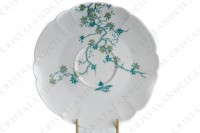 Tea cup in Limoges china by Haviland and Parlon with a blue shades pattern of flowered branches and bird photo-6