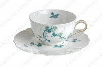 Tea cup in Limoges china by Haviland and Parlon with a blue shades pattern of flowered branches and bird photo-3