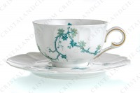 Tea cup in Limoges china by Haviland and Parlon with a blue shades pattern of flowered branches and bird photo-2
