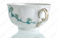 Tea cup in Limoges china by Haviland and Parlon with a blue shades pattern of flowered branches and bird photo-4
