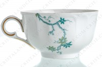Tea cup in Limoges china by Haviland and Parlon with a blue shades pattern of flowered branches and bird photo-5