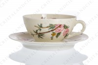 Tea cup in china of Limoges by Theodore Haviland decorated with a Japanese pattern of polychrome flowers photo-2