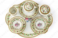 Coffee set in Limoges china by Haviland et Parlon decorated with friezes and bouquets of polychromes flowers photo-2
